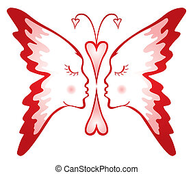 Butterfly of love - Two faces composed into shape of...