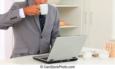 Business man working on his laptop