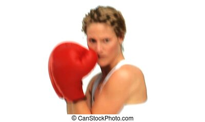 Dynamic woman with red boxing glove