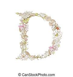 Letter D - Spring floral font, Letter D
