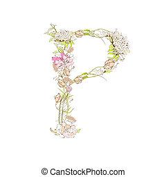 Letter P - Spring floral font, Letter P