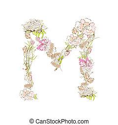 Letter M - Spring floral font, Letter M