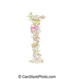 Letter I - Spring floral font, Letter I