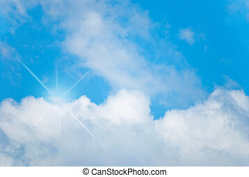 Blue Sky Bright Light - Blue sky with a bright white light