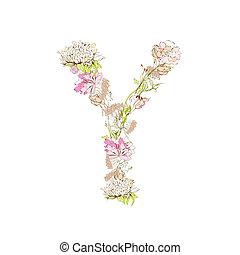 Letter Y - Spring floral font, Letter Y