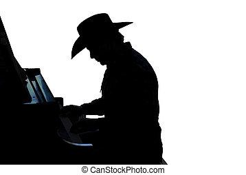 pianista, silueta, vaquero