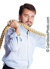 Mature businessman with a rope isolated on white background