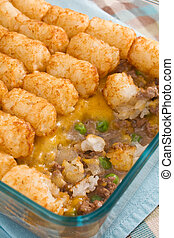 Tater Tot Casserole - Casserole made of tater tots, cheddar...
