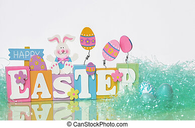 Happy Easter - Easter eggs, a rabbit and Happy Easter sign...