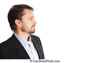 Mature businessman looking at copyspace, isolated over white background