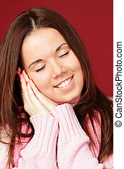 smiling young woman sleepy, isolated