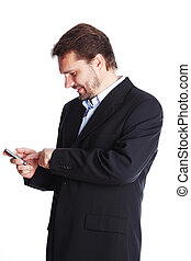 Mature businessman dialing number on cellphone, isolated over white background