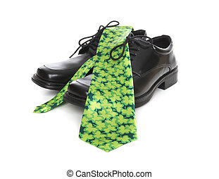 Business Man Saint Patricks Tie - A business man's shoes and...