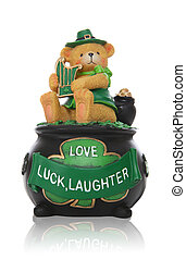 Saint Patricks Day - A bear with harp sitting on pot of gold...