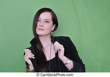 20 something female portrait on green screen - photo 20...