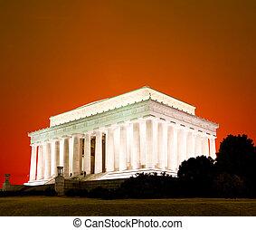 a, Lincoln, memorial, Washington, DC