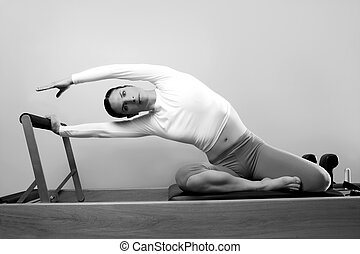 black and white pilates woman sport fitness portrait on...