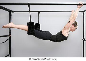 mujer, Cadillac, gimnasio, Pilates, condición física,...
