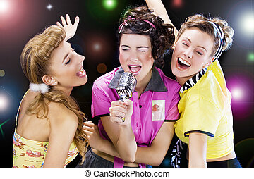 pin-up girls - a group of pin-up girls singing together and...