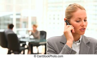 Business woman talking on the phone with business people in...