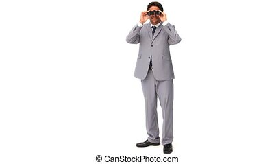 Elegant man in gray suit with binoculars isolated on a white...