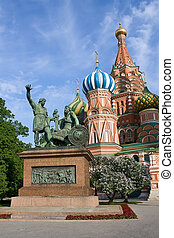 Monument to Minin and Pozharsky and Saint Basil's Cathedral...