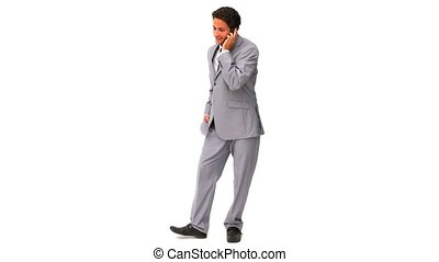 Elegant businessman talking on the phone isolated on a white...