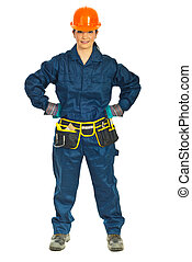 Constructor worker woman with attitude - Full length of...