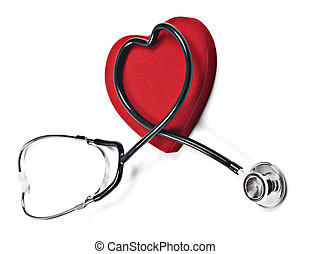 Doctors stethoscope and red heart on a pure white background...
