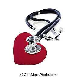 a Doctor's stethoscope listening to a red heart on a white...