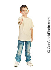 Boy in blank t-shirt giving thumbs - Six years age boy in...