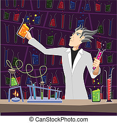 Scientist with Chemistry Equipment - Illustration of a...