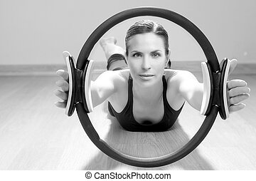 magic pilates ring woman aerobics sport gym exercises on...