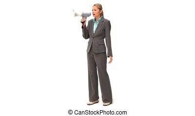 Blonde business woman shouting through a loudspeaker...