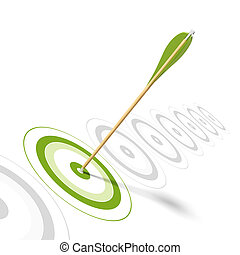 Arrow hitting the center of a green target, there is 8 targets in a row