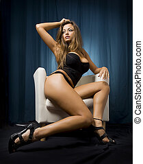 provocative woman - gorgeous young woman in a very...