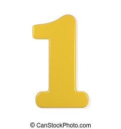 yellow font - number 1