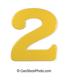 yellow font - number 2 - Yellow number 2, isolated on white...