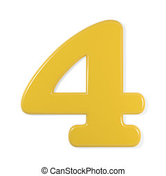 yellow font - number 4