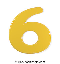 yellow font - number 6