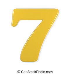 yellow font - number 7