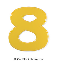 yellow font - number 8