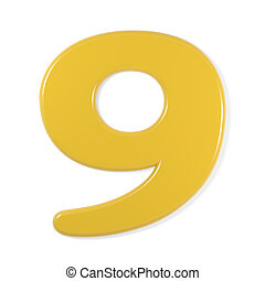 yellow font - number 9