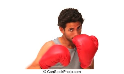 Casual man with red boxing gloves