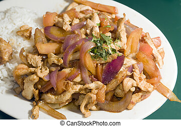 chicken pollo saltado traditional Peruvian food dish