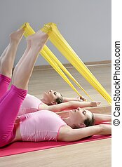 mirror pilates woman rubber resistance band fitness sport...
