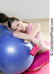 aerobics woman pilates ball relax water bottle smiling -...