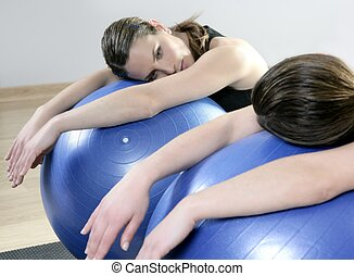 aerobics mirror relax woman pilates stability ball -...