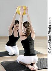 mirror pilates gym woman stability ball sport gym fitness...