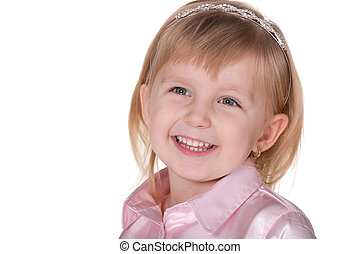 Smiling girl in pink